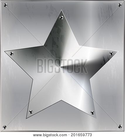 iron background, metal stylized square with geometric figure star and holes