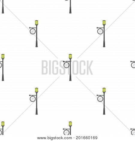 Lamppost with a clock.Lamppost single icon in cartoon style vector symbol stock illustration .