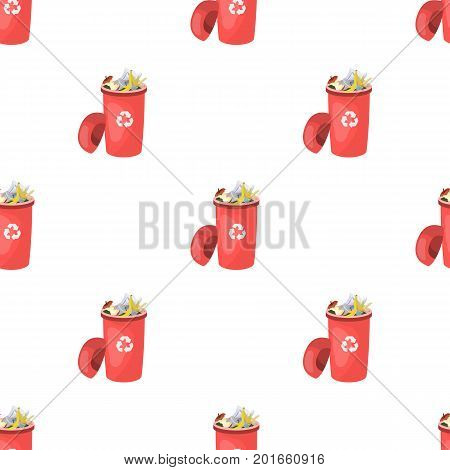 A full garbage can with waste. Rubbish and Ecology single icon in cartoon style vector symbol stock illustration ,