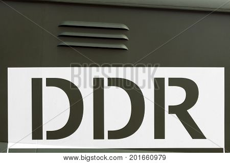 DDR or East Germany sign on a car