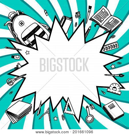 Stationery collection. Comics pop-art style empty bang shape. Outline style. Back to school thin line vector doodle illustration template isolated on twisted background. Sketchy vector backpack and stationery for graphic design, web banner and printed mat