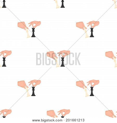 Hands holding chess pieces. Chess single icon in cartoon style vector symbol stock illustration .