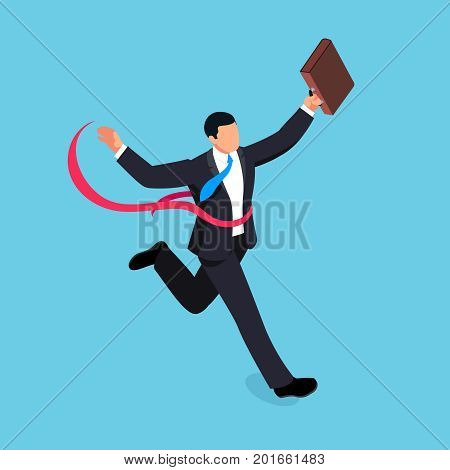 Running businessman isolated on blue background. Isometric businessman is the winner of the competition. 3d businessman with a torn red ribbon on his chest. Vector illustration.