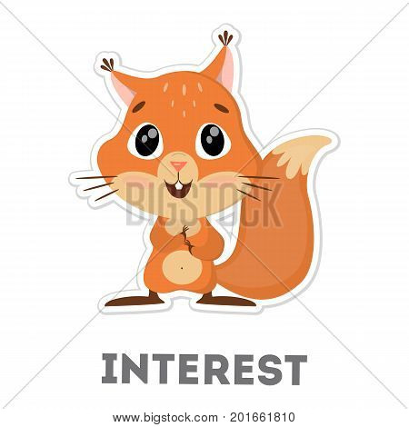 Isolated interested squirrel on white background. Funny cartoon animal.