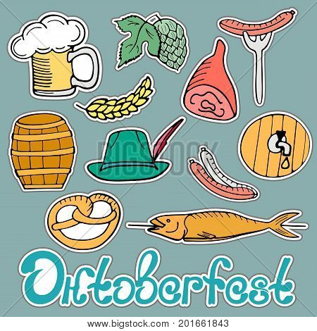 Oktoberfest National German Festival. Sticker pack of traditional menu: a glass of beer , sausage on a fork, pretzel, pork ham, fish on stick, hops, barley, barrel, hat. Hand drawn doodle isolated