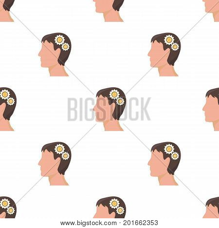 The head of a man with gears. The generator of ideas and thoughts single icon in cartoon style vector symbol stock illustration .
