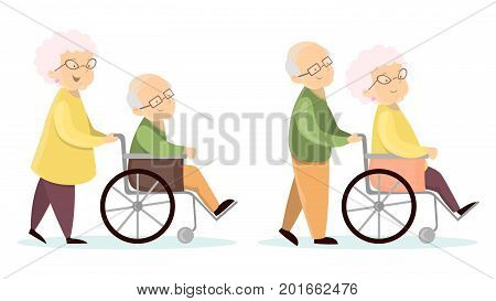 Old senior couples set. Wives with husbands on wheelchair.