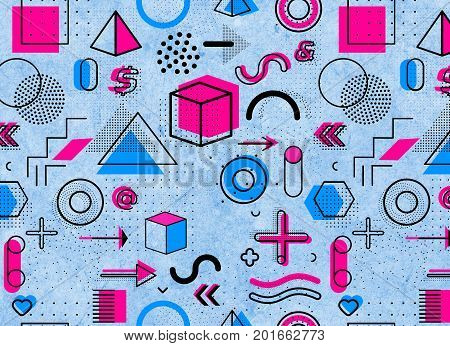 Geometric memphis pattern for fashion and wallpaper. Universal colorful decorative geometrical elements and forms on grunde background