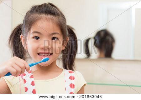 Beautiful Youth Kid Daughter Holding Toothbrush