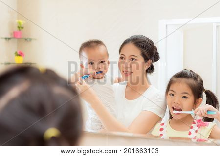 Happiness Family Daily Life Photo Of Young Mother