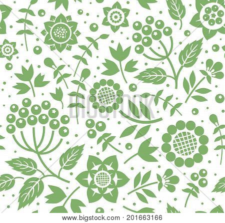 Berries and twigs, decorative background, seamless, green and white, vector. Green twigs with berries and flowers on white background. Floral seamless pattern.