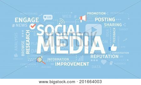 Social media concept illustration. Idea of networking and comunication.