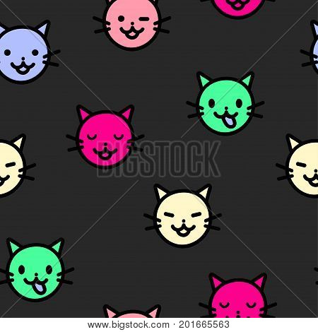 Seamless pattern cute emoticons head kittens. Suitable for kids print wrappers textiles. Vector illustration