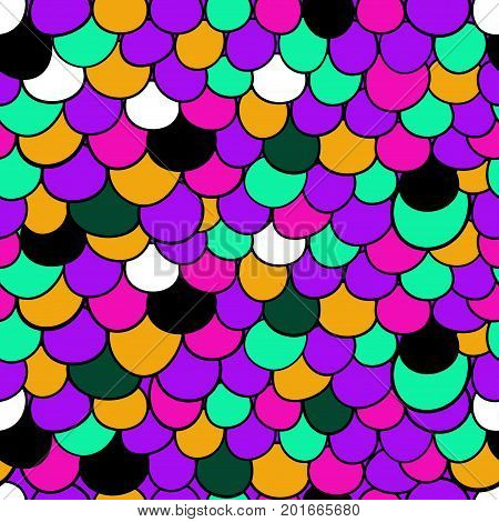 Hand drawn mermaid scales. Seamless bright girly color doodle pattern. Vector illustration