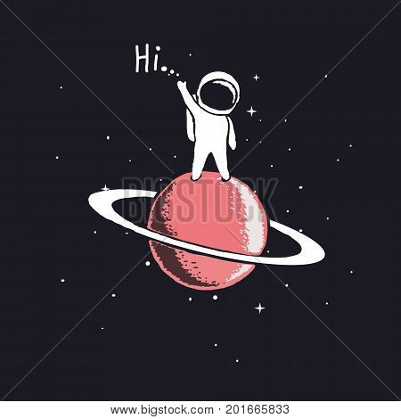 astronaut stay on Saturn and welcomes us.Space theme vector illustration.Spaceman explore a new planet