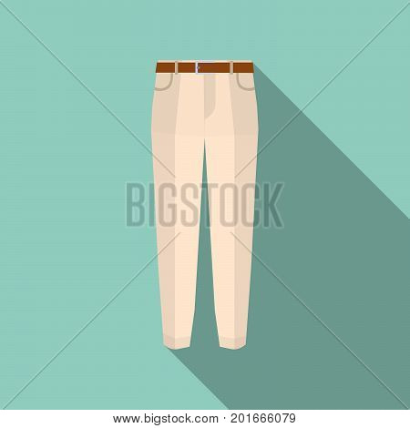 Trousers icon on green Modern pants vector illustration. Fashionable cotton elegant trousers with long shadow. Flat design Vector Illustration