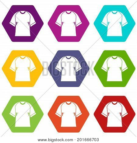 Raglan tshirt icon set many color hexahedron isolated on white vector illustration