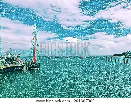 Digital painting of a yacht moored up alongside a jetty on a sunny day with clouds in the sky with space for text.