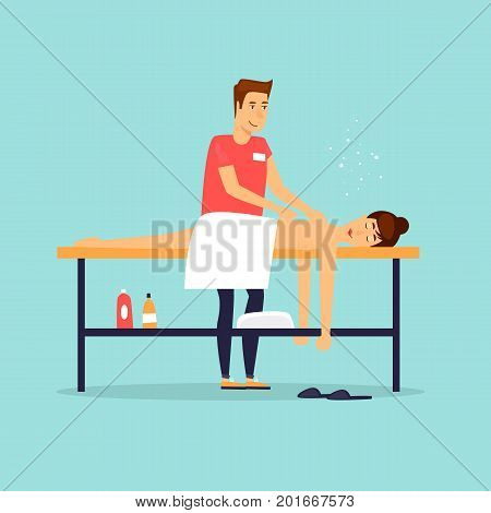 Woman relaxing on massage table. Male masseur. Flat design vector illustration.