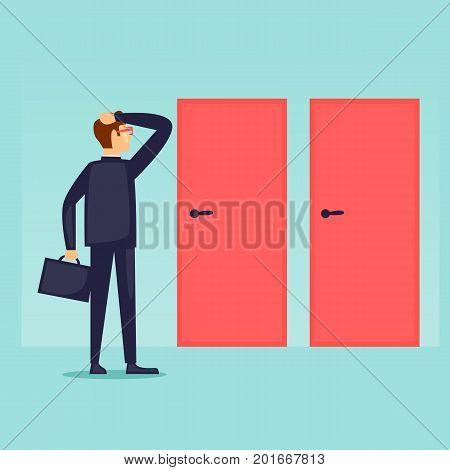 Businessman makes a choice. Man chooses the path. Flat design vector illustration.