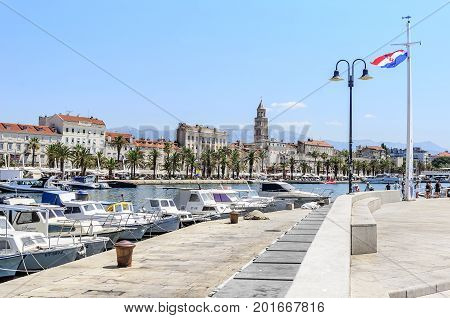 SPLIT, CROATIA - 12 JULY, 2017: Parking for yachts and boats in Split, Croatia