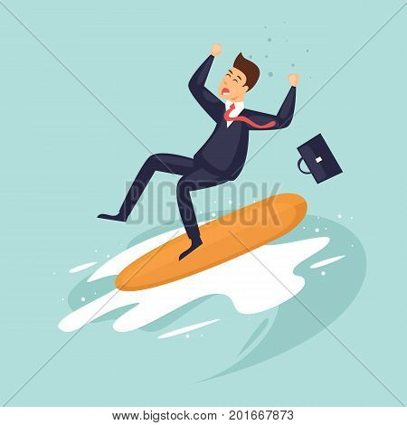 Decline in business. Businessman fell with surf boards. Crisis. Flat design vector illustration.