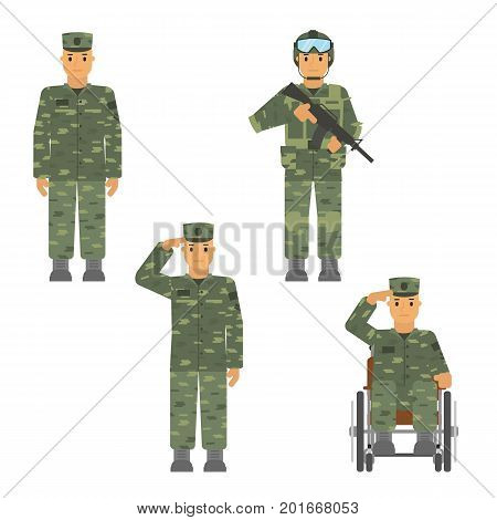 Vector set of soldier man isolated on white background. Saluted soldier, warrior with weapon, soldier in armchair, soldier an attention.