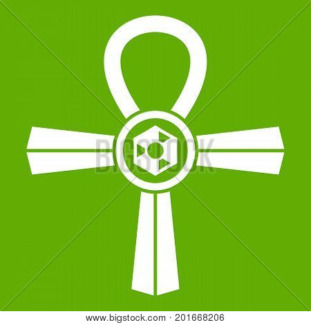 Egypt Ankh symbol icon white isolated on green background. Vector illustration