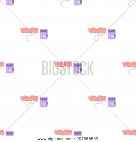 Cleaning the teeth with a Silk dental floss. Stomatology single icon in cartoon style vector symbol stock illustration .