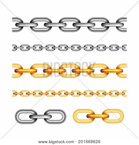 Set of different seamless chains isolated on white