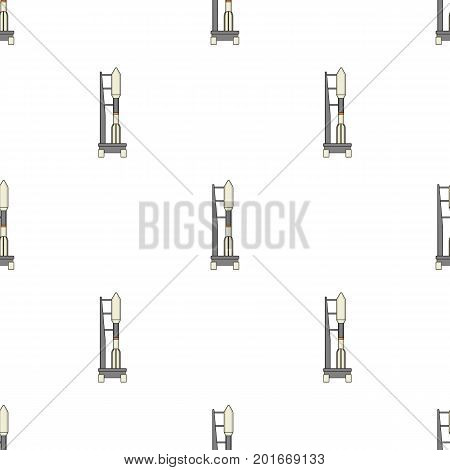 Space launch vehicle at launch. Space technology single icon in cartoon style vector symbol stock illustration .