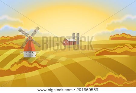 Rural landscape with a mill, a hangar and grazing horses. Farm with golden wheat fields. Autumn landscape.