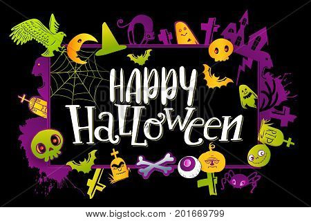 Color Happy Halloween horizontal banner with hand lettering greetings and sketch cartoon style horror characters. Vector illustration on yellow background. Pumpkin, skull, bird, bat, ghost, cat, grave