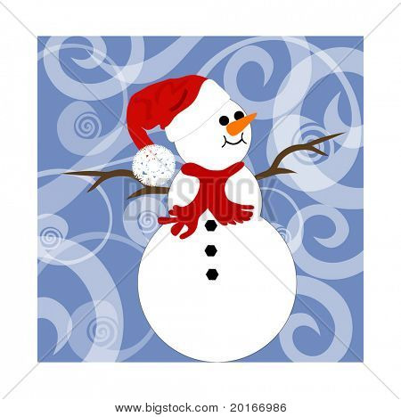 snowman on funky background