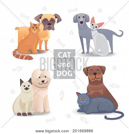 Cute Cat and Dog cartoon illustration. Home animal friends. isolated
