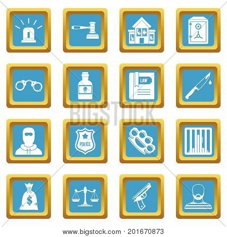 Crime and punishment icons set in azur color isolated vector illustration for web and any design