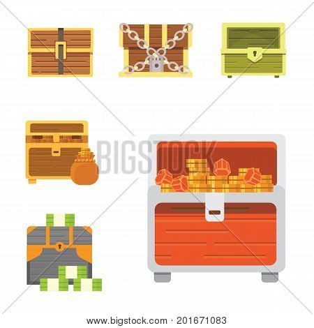 Cute set of diferent chests. Cartoon illustration chest. Safe money
