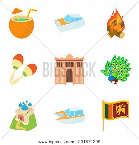 Tour icons set. Cartoon set of 9 tour vector icons for web isolated on white background