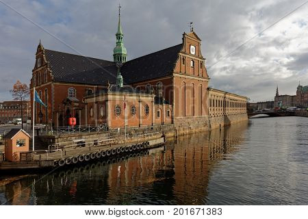 COPENHAGEN, DENMARK - NOVEMBER 7, 2016: Church of Holmen in autumn. Built as an anchor forge in 1563, it converted to church in 1619 and hosted the wedding of  Margrethe II and Prince Henrik in 1967