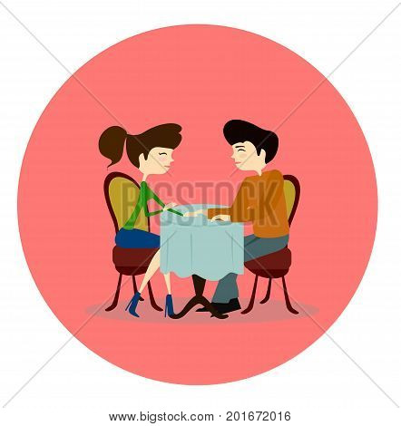 Illustration of a Man and Woman Asking Each Other Questions at a Speed Dating Event sitting by the table in a cafem sign, banner, emblem