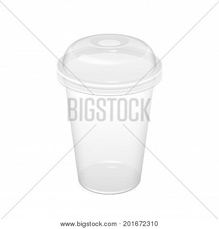 Realistic Transparent Disposable Plastic Cup With Lid. For various drinks lemonade fresh coffee or ice cream. Mock up for brand template. vector illustration.