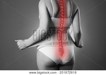 Spine pain pregnant woman with orthopedic support belt pregnancy bandage black and white photo with red backbone