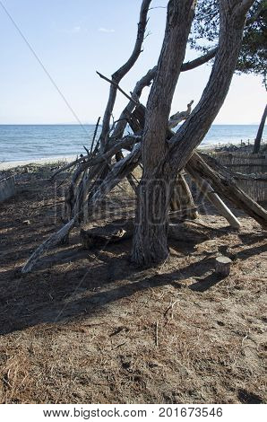 View of a shelter of a castaway