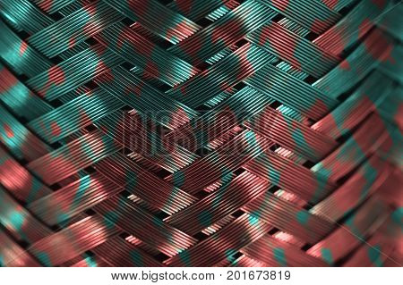 Horizontal metal wire braiding. Steel texture. Background. Template.