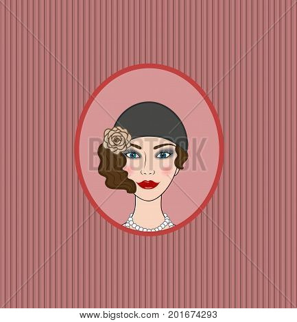 Flapper girl 20s-30s style vector portrait vignette frontispiece poster
