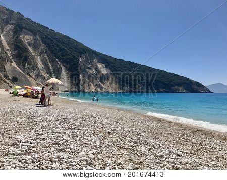 KEFALONIA - JULY 8, 2017: Myrtos beach on the Greek Island of Kefalonia.
