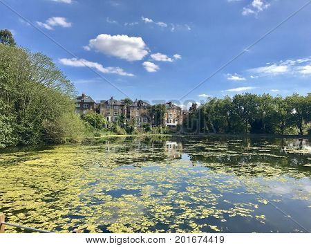 LONDON - AUGUST 27, 2017: Ponds on Hampstead Heath in Hampstead, London, UK.
