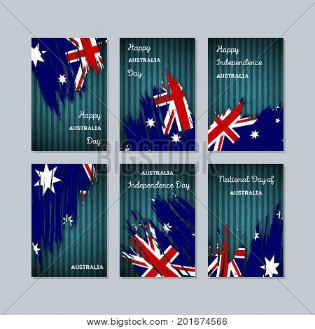Australia Patriotic Cards For National Day. Expressive Brush Stroke In National Flag Colors On Dark