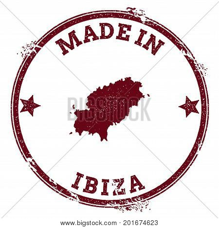 Ibiza Seal. Vintage Island Map Sticker. Grunge Rubber Stamp With Made In Text And Map Outline, Vecto
