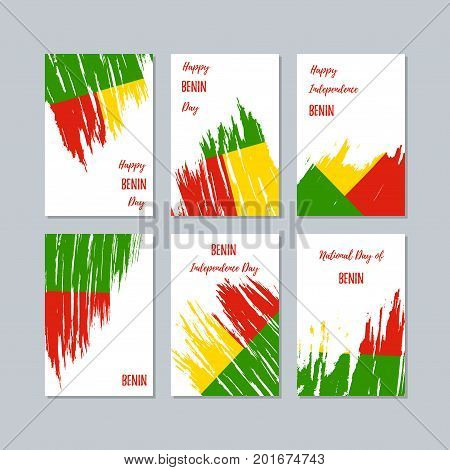 Benin Patriotic Cards For National Day. Expressive Brush Stroke In National Flag Colors On White Car